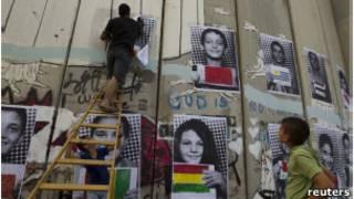 murales con apoyo a la petición palestina