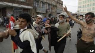 Участники акций протеста в Сане