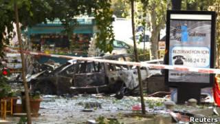 Место взрыва оцеплено полицией