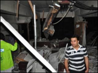 دھماکے کے بعد کا منظر