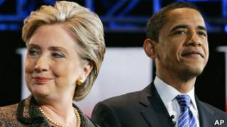 Хиллари Клинтон и Барак Обама на дебатах в 2008 году
