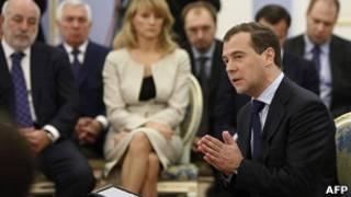 Дмитрий Медведев на встрече со сторонниками в Горках 19 октября 2011 года