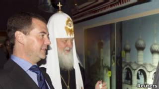 Патриарх Кирилл и президент России Дмитрий Медведев