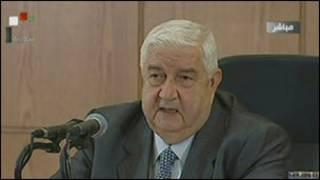 Wasiirka arrimaha dibadda ee Syria Walid Mucalim