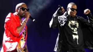 Kanye West (kiri) dan Jay-Z (kanan)