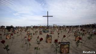 Homenagem a vítimas da violência no Rio, em foto de julho tirada em Copacabana (Reuters)