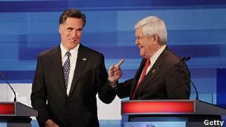 Ньют Гингрич и Митт Ромни во время теледебатов