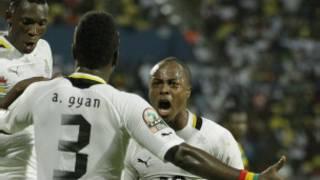 'yan wasan Ghana na murnar nasarar da suka samu a kan Mali