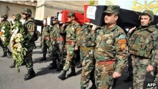 Похороны военнослужащих погибших при взрывах в Дамаске 9 февраля 2012 года