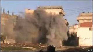 Cảnh bắn phá tại Homs
