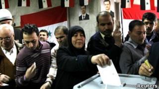 Голосование на референдуме по конституции в Сирии