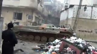 tanque del ejército sirio entra en Homs