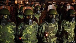 Militares nas ruas da Bolívia