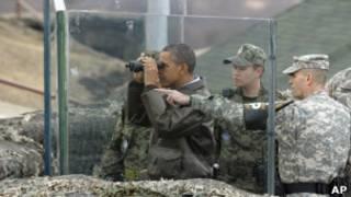 Барак Обама на границе КНДР и Южной Кореи