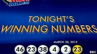 Imagem mostra números sorteados pela Mega Millions