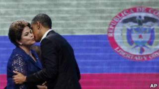 Dilma e Obama em Cartagena. | Foto: AP