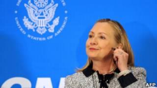 Hillary Clinton em Brasília. AFP