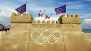 韦茅斯海滨的巨型奥运沙堡