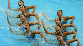 The Japanese synchronised swimming team performing a routine.