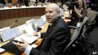 O ministro da Fazenda, Guido Mantega, em reunião do FMI em Washington