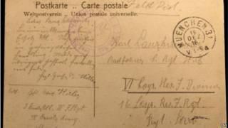 希特勒一戰期間寫的明信片