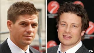 Steven Gerrard e Jamie Oliver (PA)
