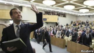 Дмитрий Медведев после утверждения его кандидатуры в премьер-министры Госдумой 8 мая 2012 г.