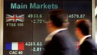 倫敦街頭的股市顯示屏
