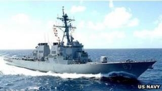 بارجة حربية تابعة للبحرية الأمريكية