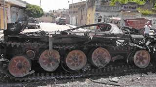 دبابة سورية معطوبة