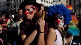 Protesto do movimento dos 'indignados' na Espanha