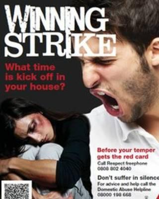 招貼畫增強公眾對足球賽期間家暴的認識