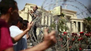 Pengamanan di gedung Mahkamah Konstitusi Mesir
