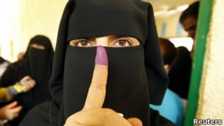 A woman after casting her vote in Egypt elections