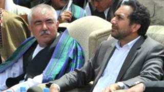 ژنرال دوستم (چپ) و احمد ضیا مسعود
