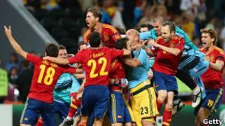 شادی بازیکنان اسپانیا