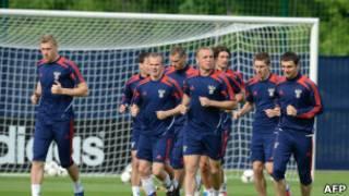 Российская сборная по футболу на тренировке