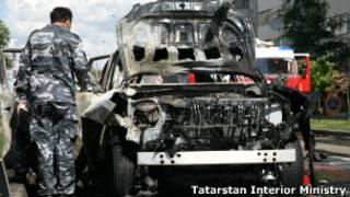 Автомобиль Илдуса Файзова после взрыва