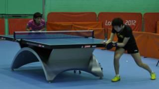 在英國利茲奧運集訓營裏的中國乒乓球名將李曉霞和丁寧