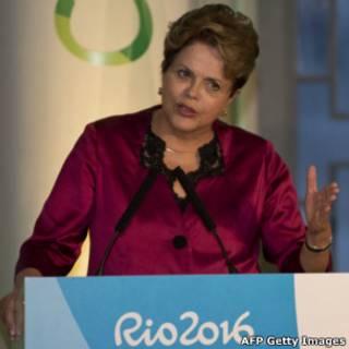 Dilma Rousseff durante pronunciamento na Casa Brasil no dia 26 de julho de 2012