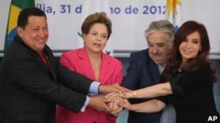 Chávez e os demais presidentes do Mercosul, em foto de arquivo