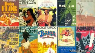 Capas de livros em diferentes idiomas de Jorge Amado.
