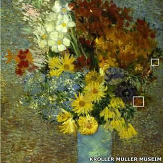 Flores en un jarron azul