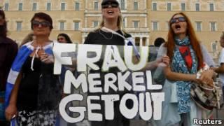 Yunanistan'da Alman Başbakan Merkel'e protesto