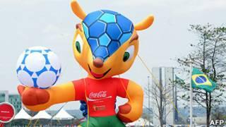 Un modelo inflable de la mascota en Brasilia