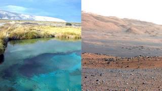 Cuatro Ciénegas, a la izq. y el cráter Gale en Marte a la der.L. Eguiarte Fruns//NASA/JPL-Caltech/MSSS.