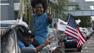 Simpatizantes del partido oficialista en Puerto Rico