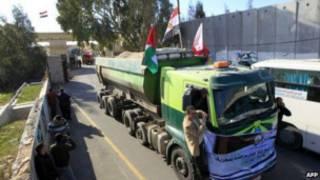 Pengiriman barang di Gaza
