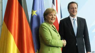 Angela Merkel y David Cameron.