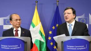 Burmese President U Thein Sein and EU chief